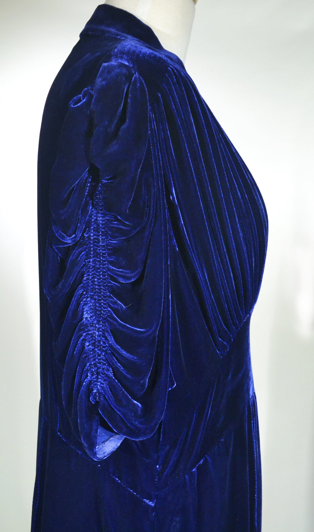 1930s Silk Velvet and Rayon Dress