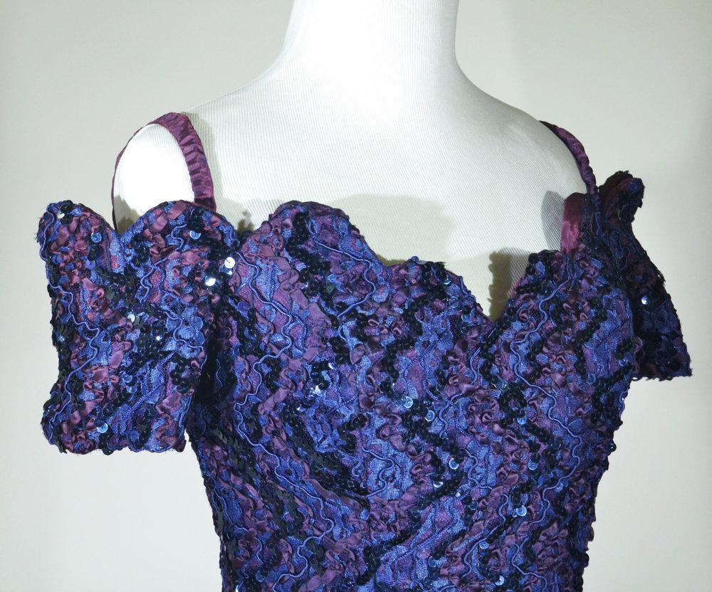 1990s Purple Sequin and Ribbon Mini