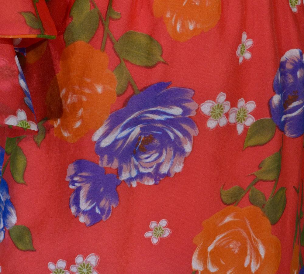 1970s Tiered Ruffle Sleeve Dress