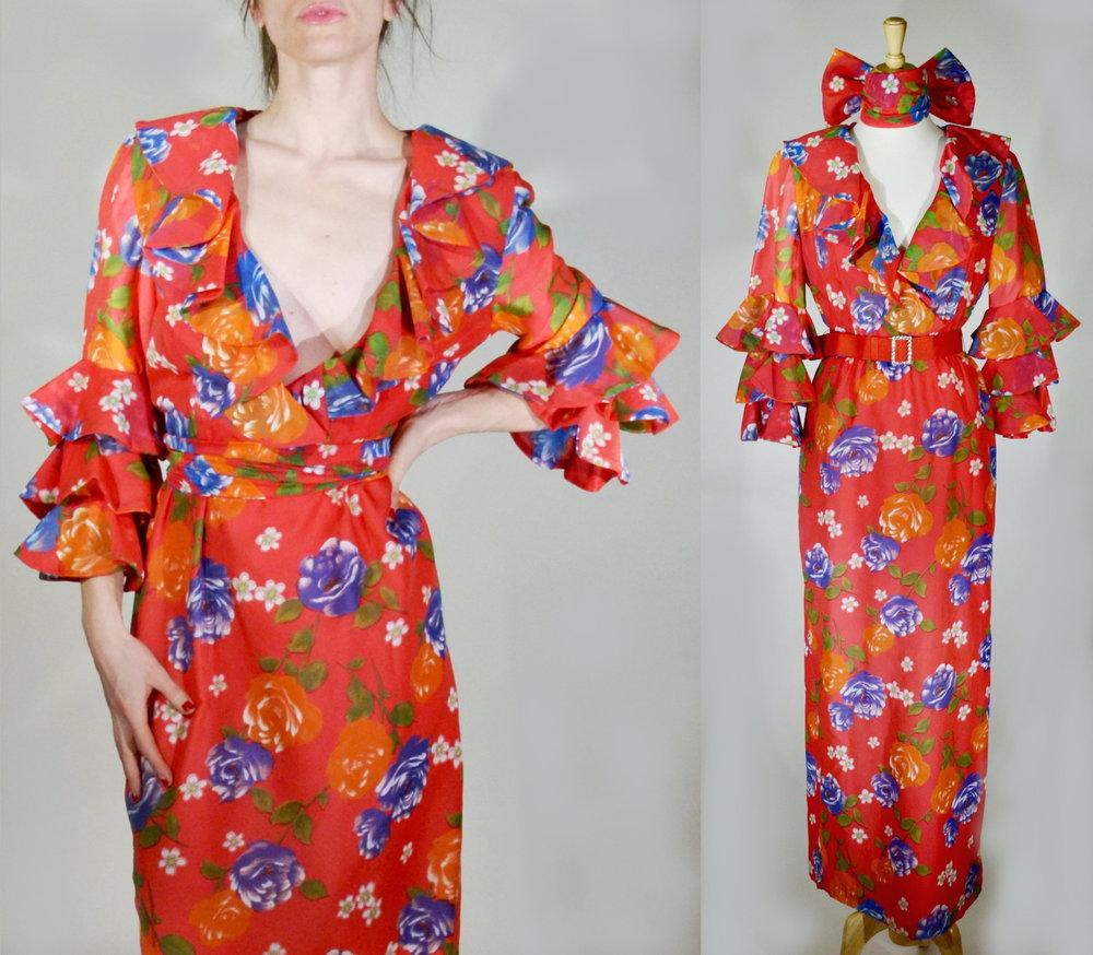 1970s Tiered Ruffle Sleeve Floral Dress Model.jpg