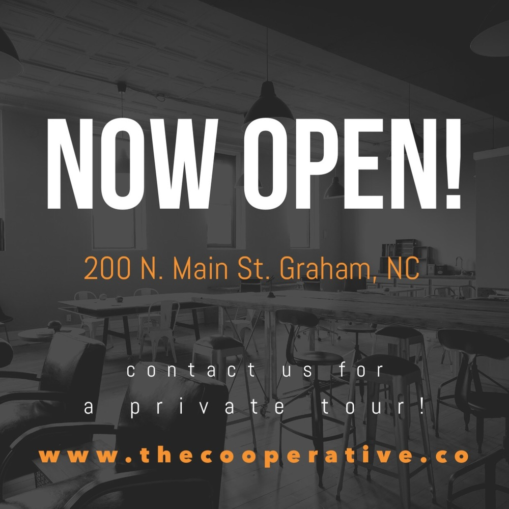 The CoOperative, coworking space in Graham, NC for entrepreneurs.