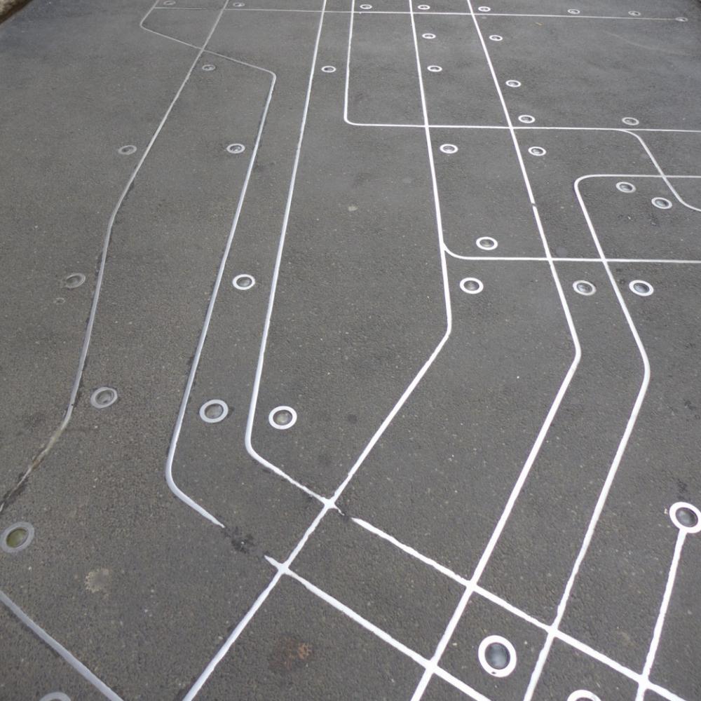 Subway Map Floating on a NY Sidewalk - NYC