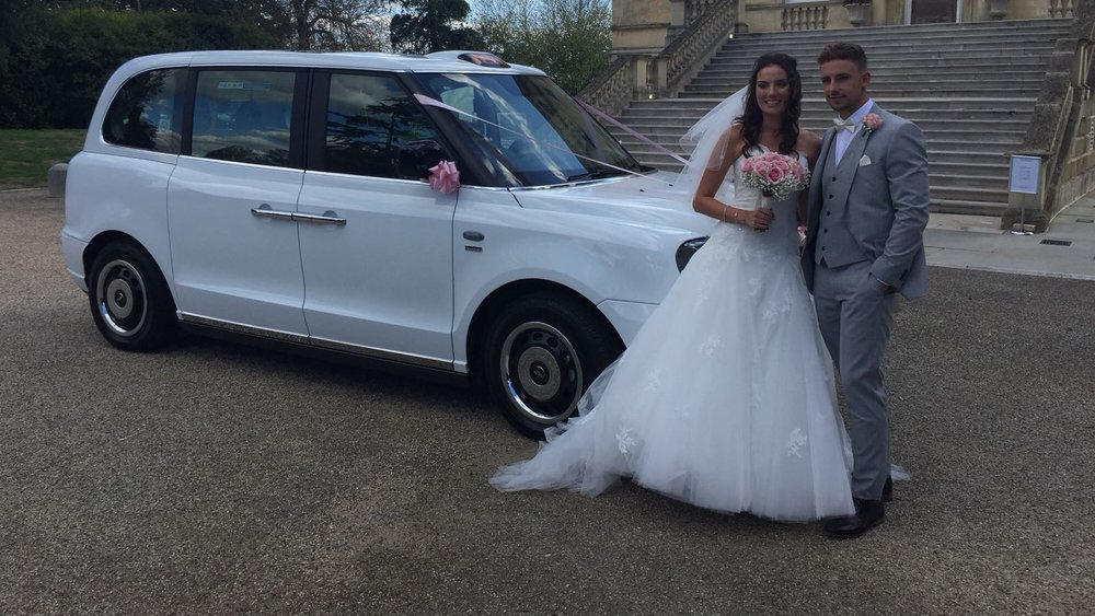 White Electric Wedding Taxi Hire