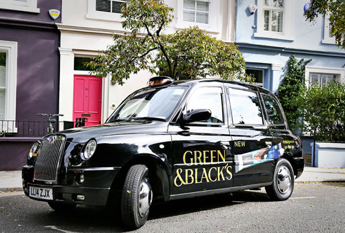Green and Blacks Cab