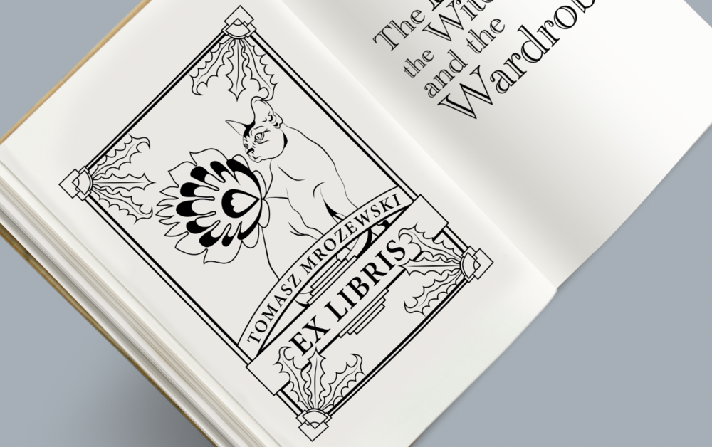 Ex Libris,  custom stamp design (mockup) for client Tomasz Mrozewski. Original vector design for ink-based stamp.