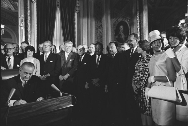 President Lyndon Johnson Signs the Voting Rights Act United States National Archives