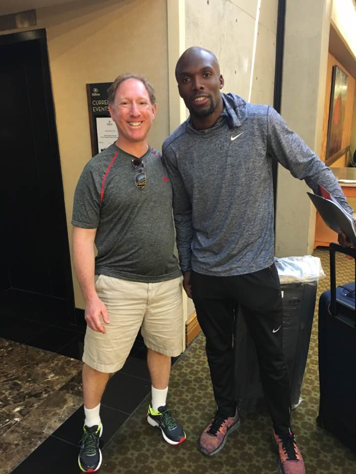 Charlie Gofen with Olympic gold medalist sprinter LaShawn Merritt at the U.S. Olympic Trials for Track and Field in Eugene, Oregon, in July 2016.