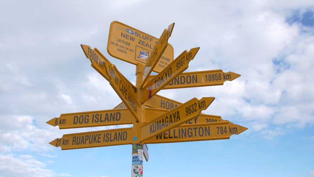 New Zealand locations signpost