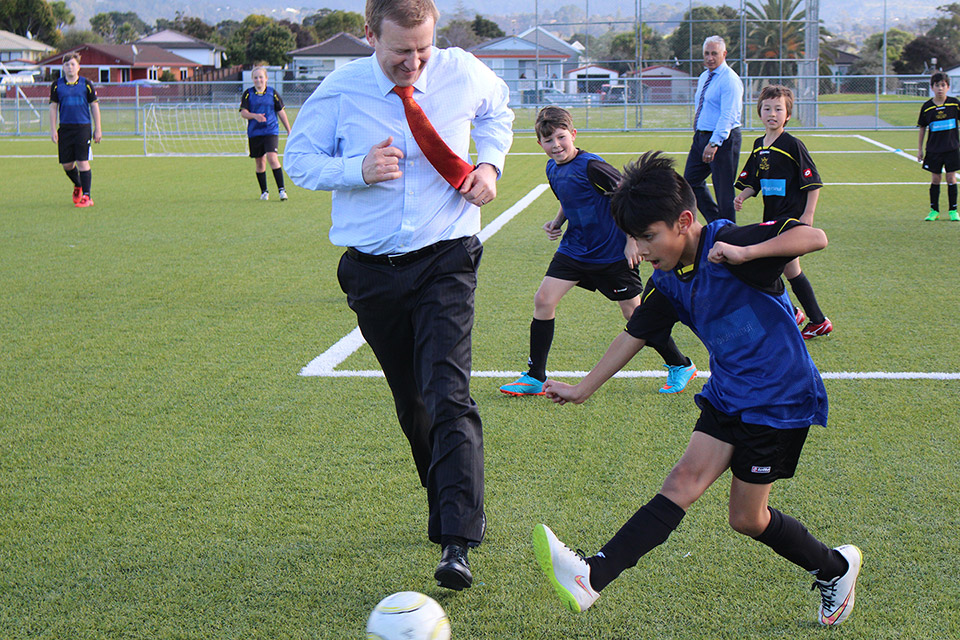 Football game at the Healthy Families Waitakere launch
