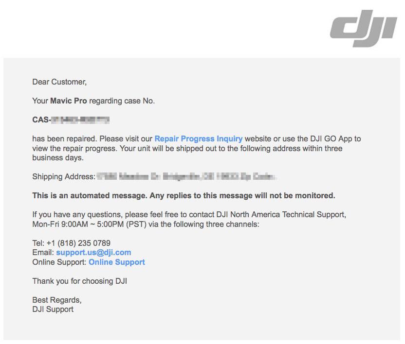 DJI Repair Completed