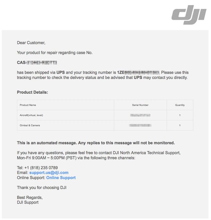 DJI Product for Repair Shipped
