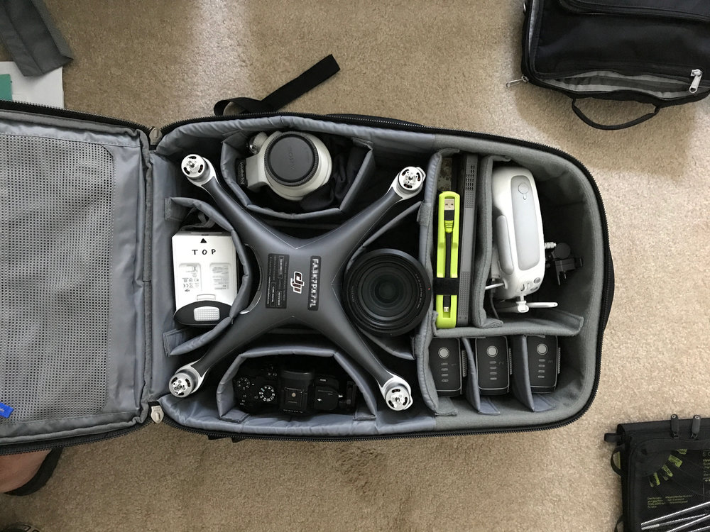DJI Phantom 4 Pro with a skin from  DecalGirl.com , packed and ready to carry-on.