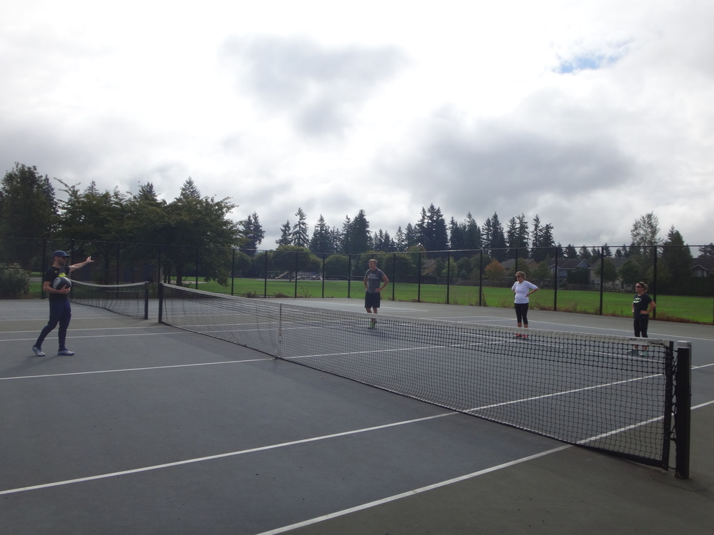 Hoover-ball is traditionally played with a volleyball net. But for this Labor Day Spears Strong workout, tennis courts work too. It was some action packed 3-on-3.