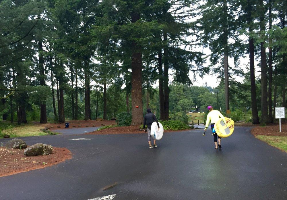 Angie and Jonathan head to Lacamas Lake to SUP.