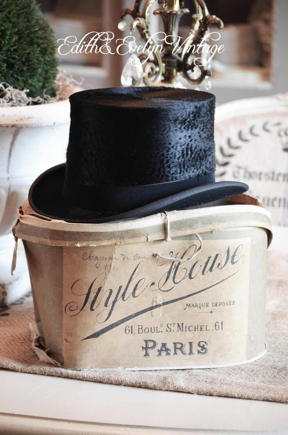 Antique French Top Hat with Original Paris Label Hat Box from France