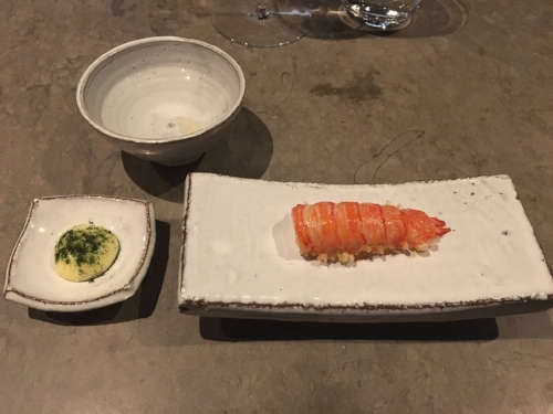 5th course from our meal at Frantzen - deep fried langoustine, dried rice, clarified butter mayonnaise