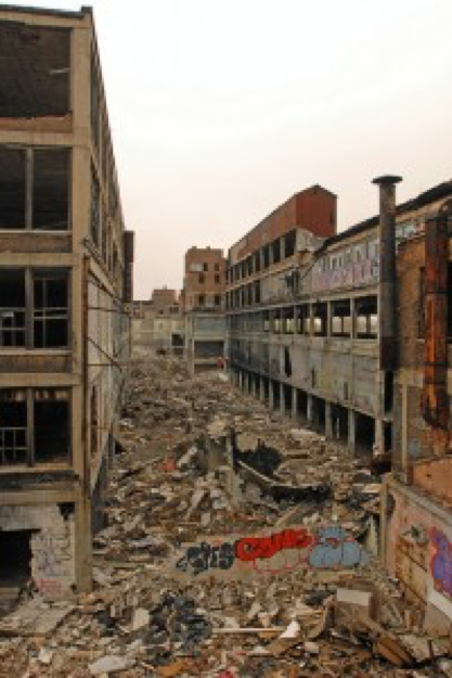 Imaged is the Packard Plant in 2012 before the cleanup.