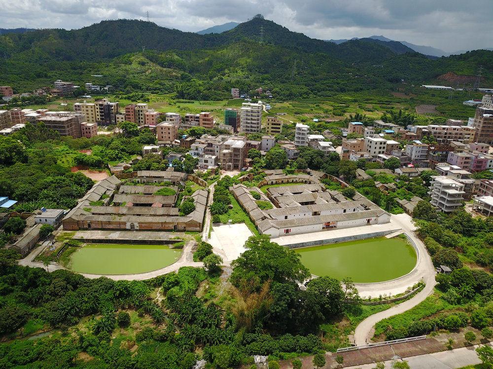 Aerial view of Wayne Yeh's Hakka village in Huiyang