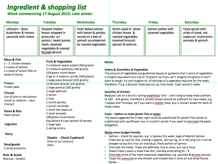Cooking for one winter menu plan shopping list