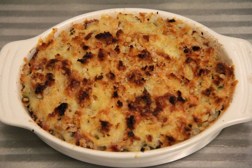 Recipes for one - glam leftovers 0- sausage, vegetable and rice gratin