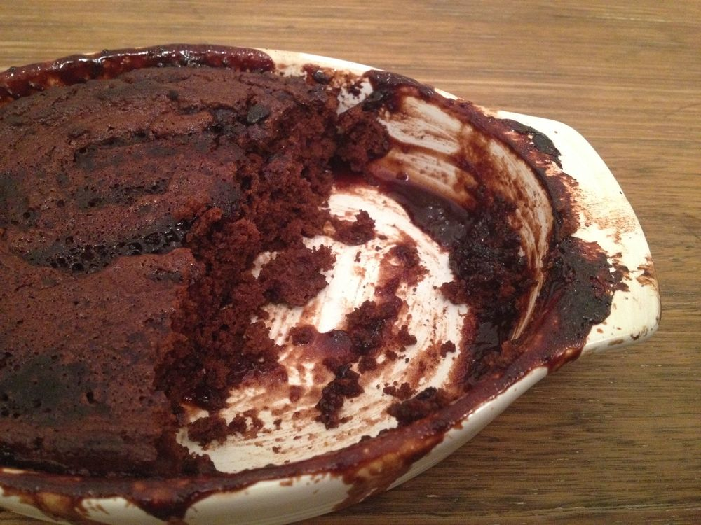 Chocolate self saucing pudding for one person