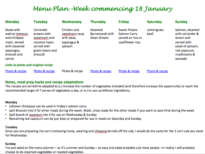 Menu Plan - week commencing 18 january 2016