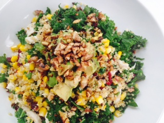 Recipe for one - Warm salad of chicken, quinoa, kale, avocado, corn and cranberries