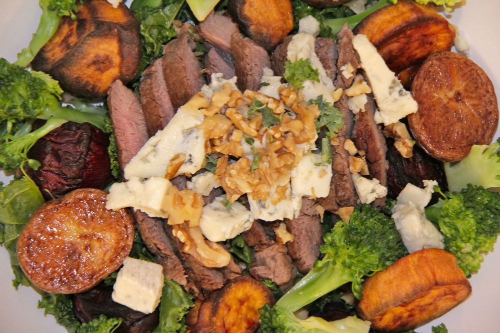 Recipe for one - warm salad of roasted root vegetables, steak and blue cheese
