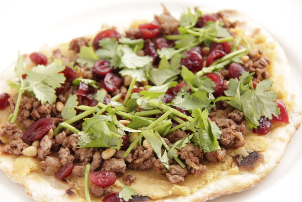 Middle Eastern pizza with lamb and cranberries