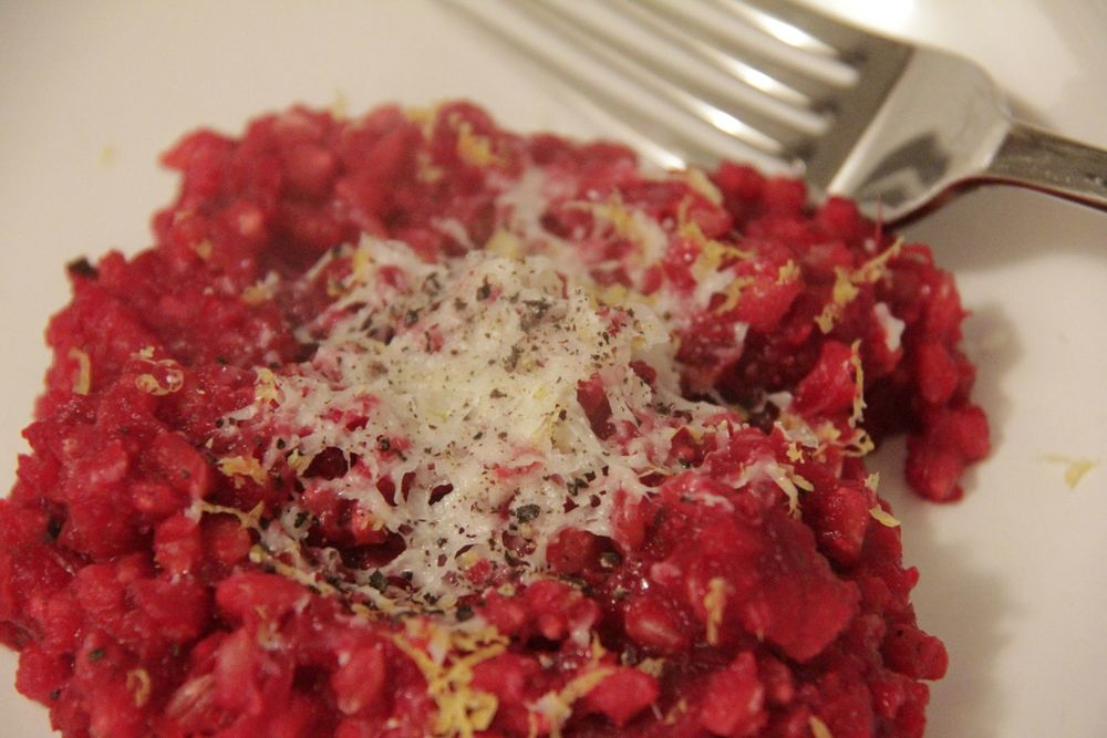 Recipe for one person - Roast beetroot risotto with pearl barley