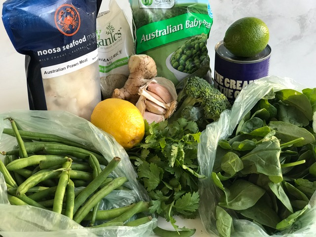 Haul from shopping: Lots of greens! Spinach, peas, broccoli, beans, coriander; along with lemon, ginger, lime & garlic..