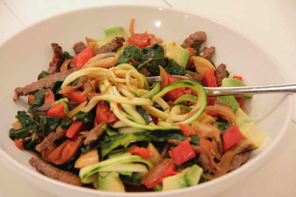 Healthy, simple beef stirfry for one