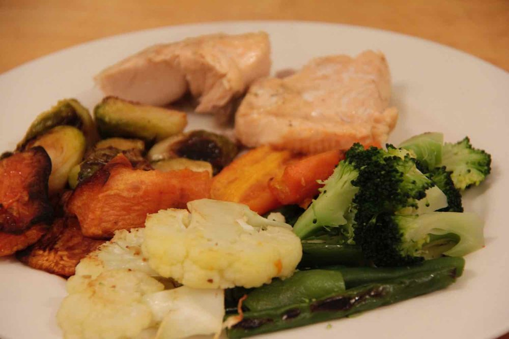 Roast chicken with 6 serves of vegetables