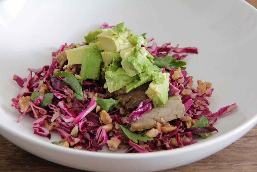 1. Pulled pork on bed of red cabbage salad with walnuts, cilantro, and cranberries -