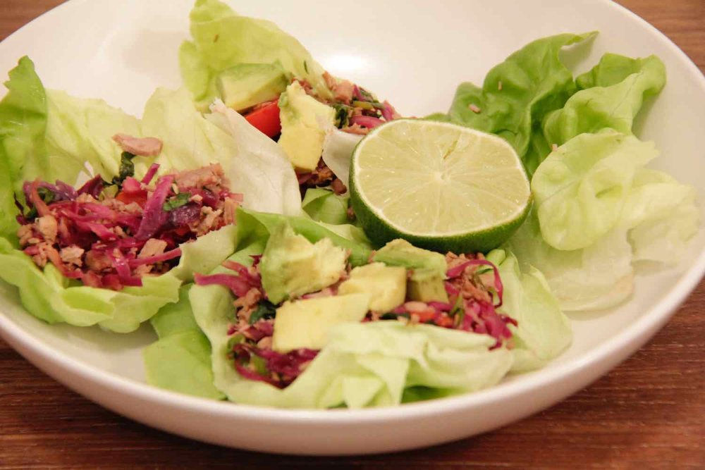 Option 3 - Pulled pork lettuce cups - a great dish for summer