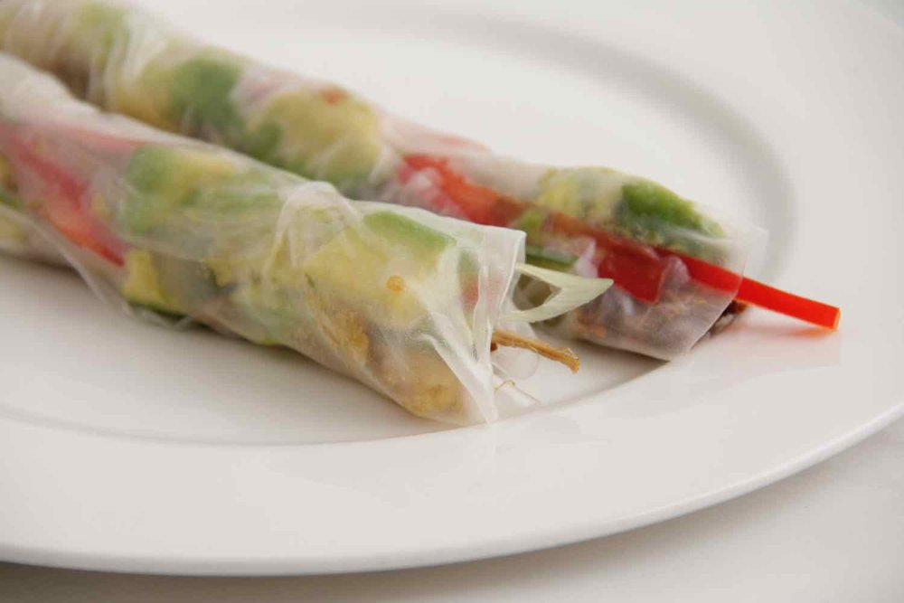 Option 4 - Pulled pork rice paper rolls with char sui sauce