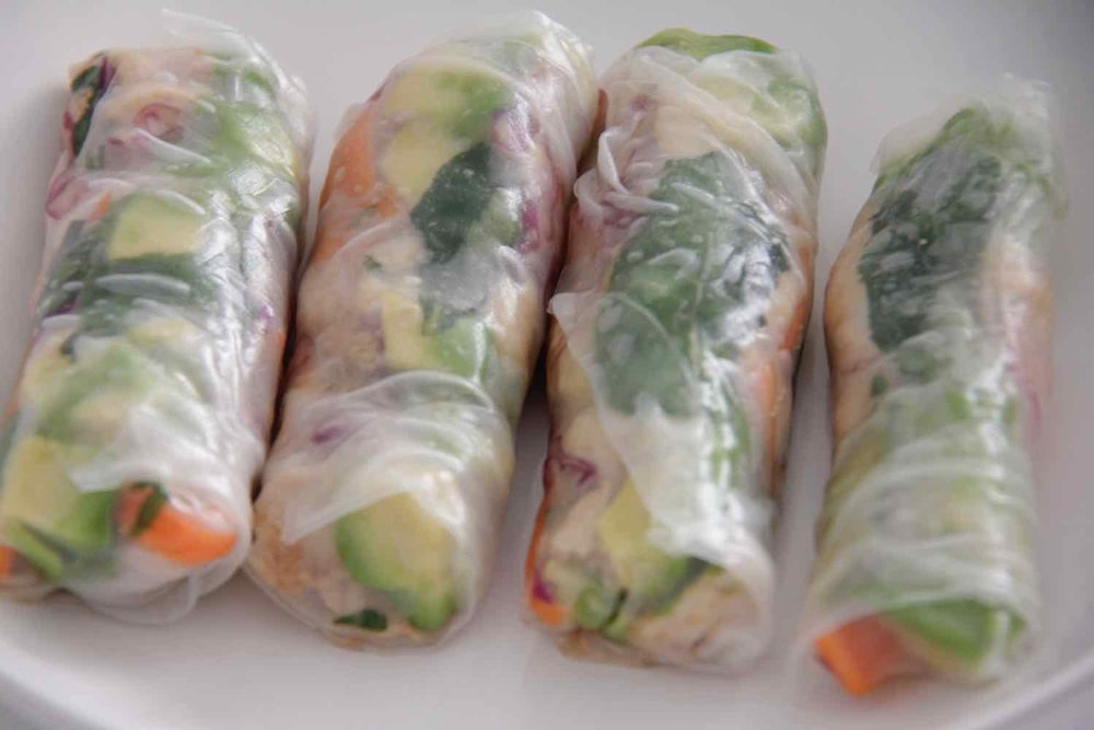 4. Rice paper rolls with pulled pork -