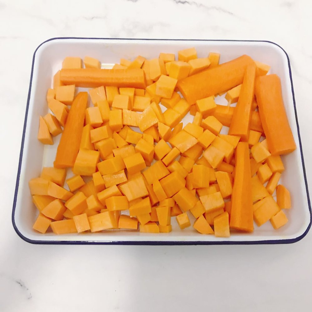 The desire for roasted sweet potato won out! This the sweet potato cubed, drizzled with olive oil and ready for roasting. Along with the carrots, which I originally planned to roast and then have with the salmon - but ended up including with the lamb!