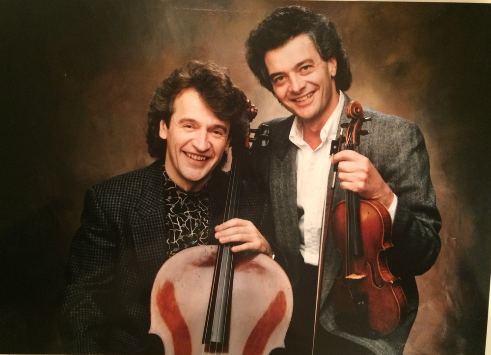 With violinist Victor Costanzi, 1986
