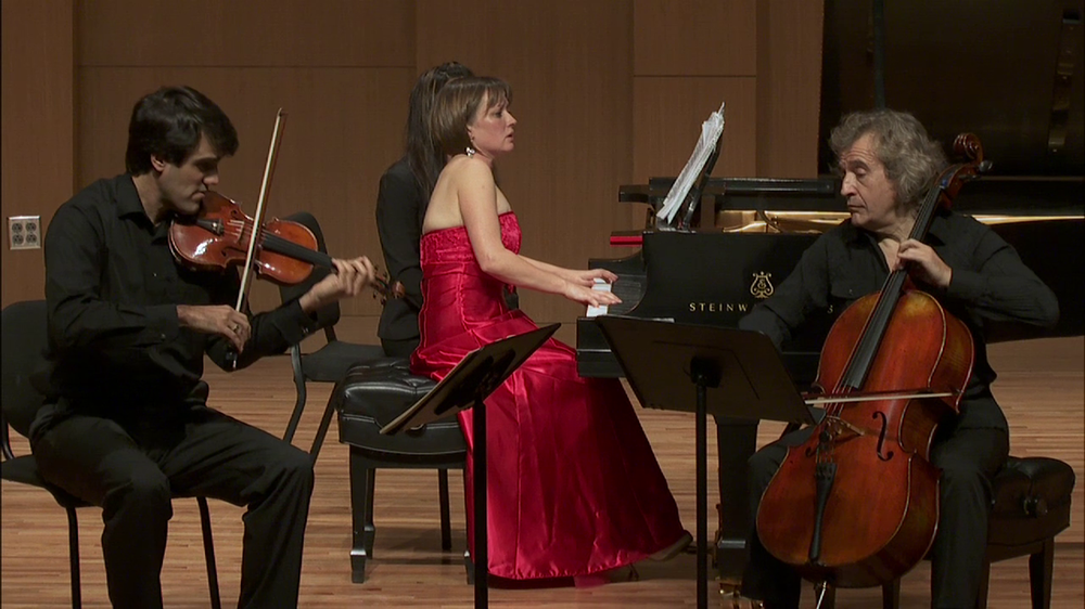 With violinist Felix Olschofka and pianist Anastasia Markina, UNT