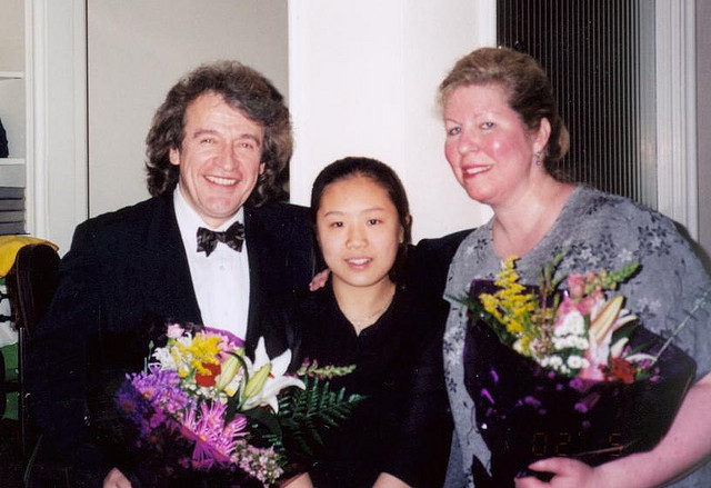 With former student Michelle Cho and cellist Janet Steinberg