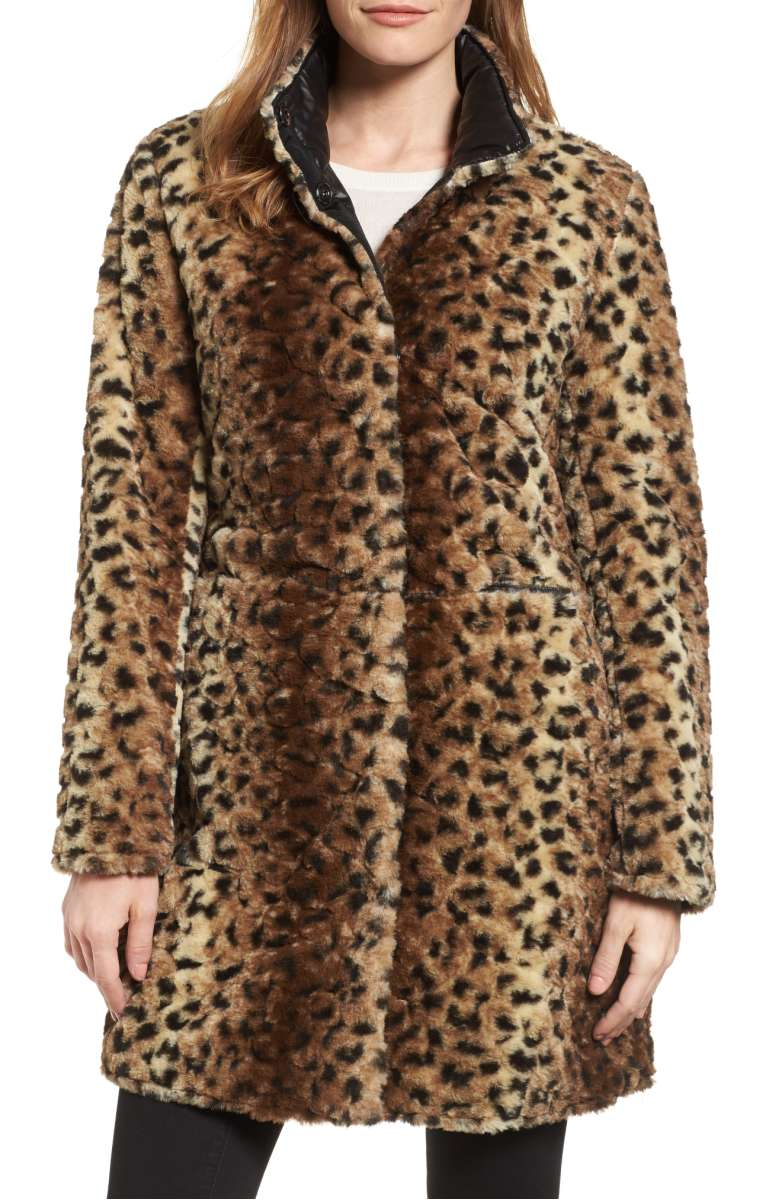 Reversible Leopard Faux Fur