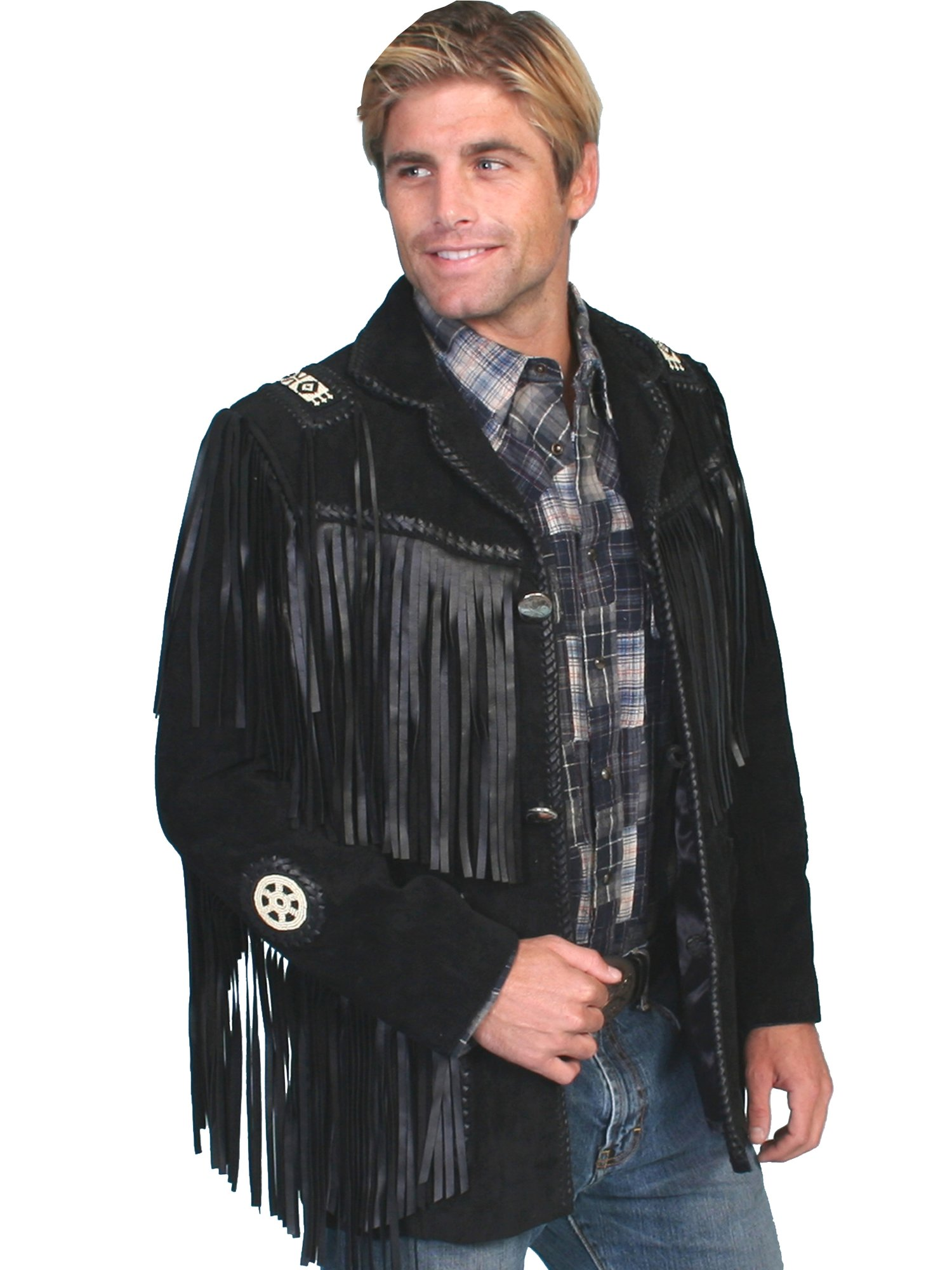 Men Western Jackets Unique Suede Cowboy Wear Fringe Native American Coats Jacket