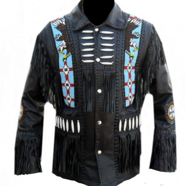 Men Western Jacket Fringes Beads Bones Suede Leather American Cowboy Coat 1980/'s