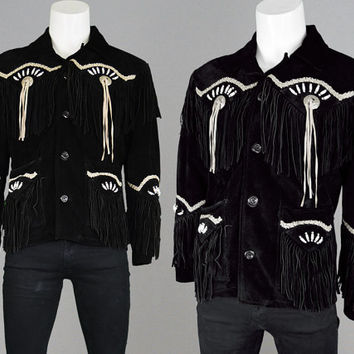 Men/'s Antique Native American Eagle Beads Western Wears Fringe Jackets