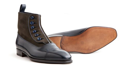 a344d36c7 07-Handmade Brown Navy Button Top Leather Boots, Men's Office Dress Formal  Boots.