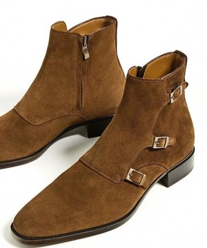 6e22eeb61f8 22-3 Handmade mensuede leather boots, mens brown three buckle fashion ankle  high boot ...