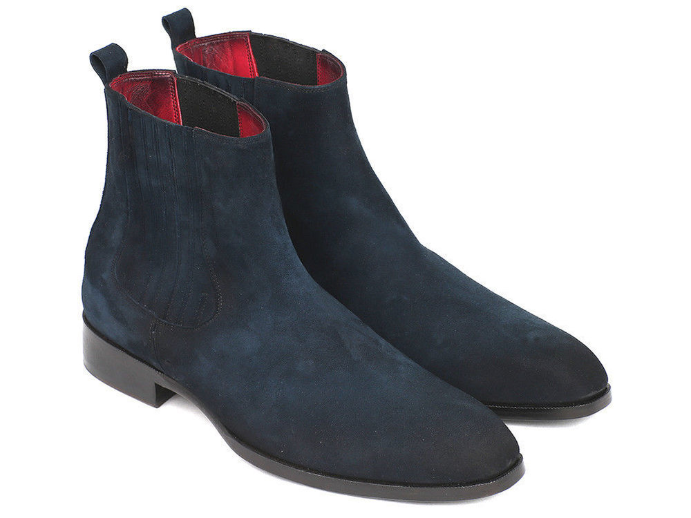 363d6913b Navy Blue Suede Boots Leather Ankle Boots CMB-39. 39-1 Handmade men ...
