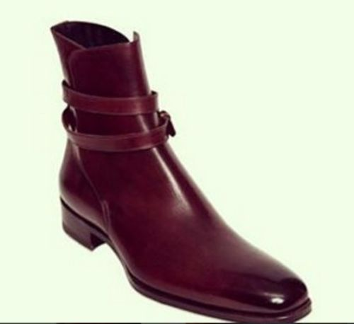 7091126098 Mens Fashion Burgundy Ankle High Leather Boots CMB-99 — Curvento