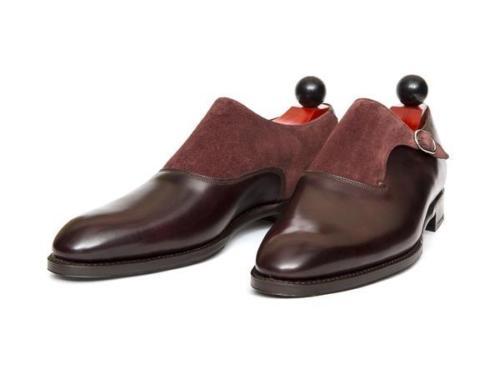 Bespoke Maroon Monk Leather Shoes FWS